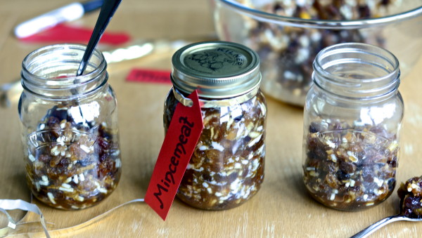Homemade mincemeat in jars