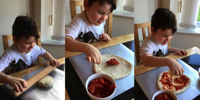 making pizza dough with children