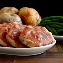 My take on the traditional Italian recipe, Saltimbocca. Pork loin with sage, wrapped in parma ham and cooked in white wine and chicken stock.