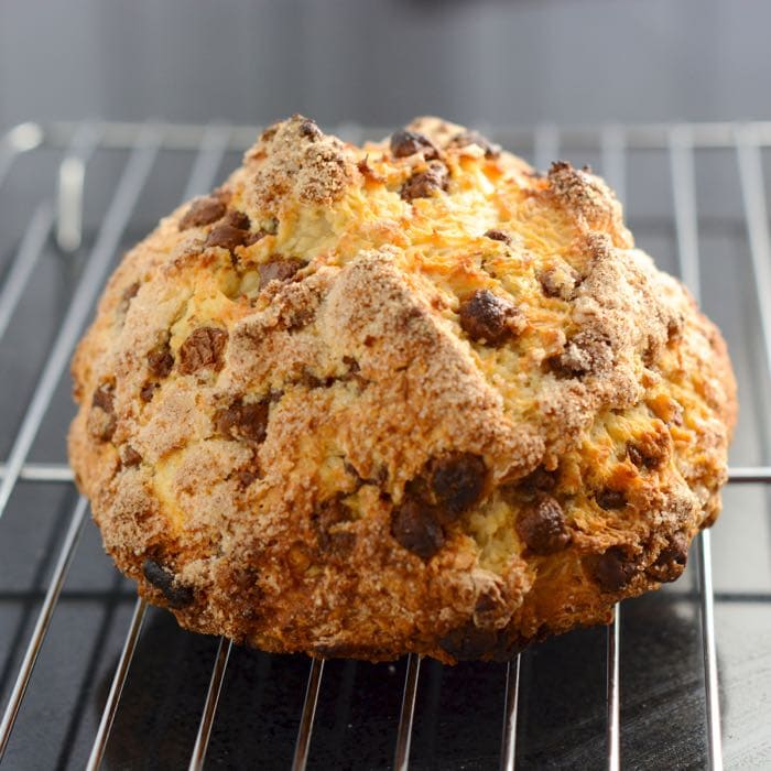 Traditional Irish soda bread with a sweet, chocolatey twist. Unbelievably simple to make, no kneading, no proving, and ready for the oven in under 10 minutes.