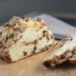 chocolate chip soda bread slice