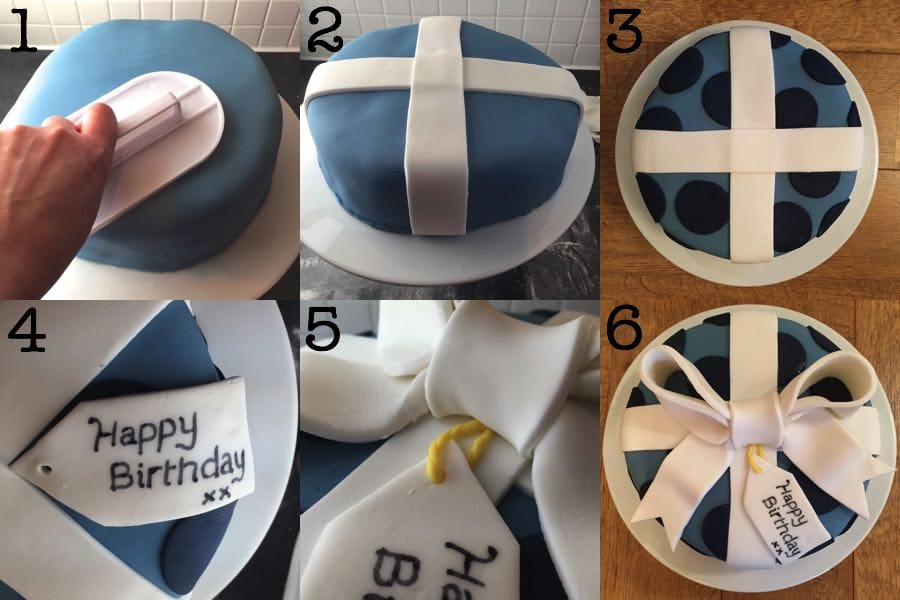 Step-by-step tutorial to decorating a birthday present cake