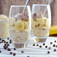 banana chocolate almond breakfast cheesecake