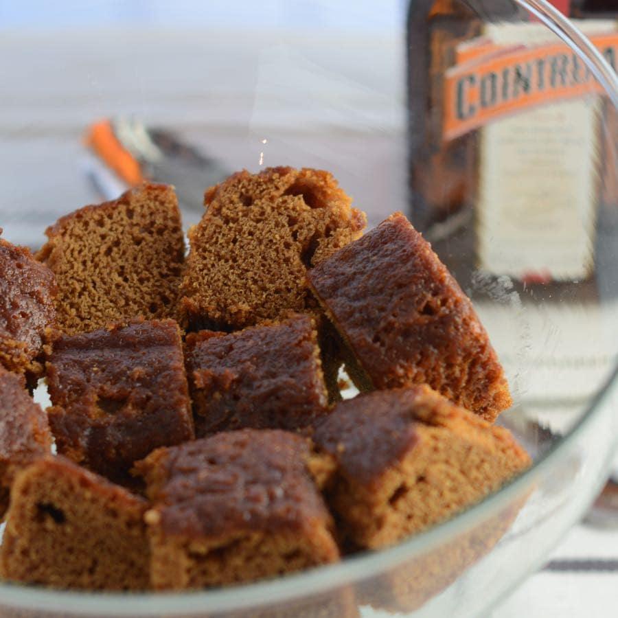 Layers of cointreau soaked ginger cake, rhubarb, homemade vanilla custard and whipped vanilla & ginger cream.