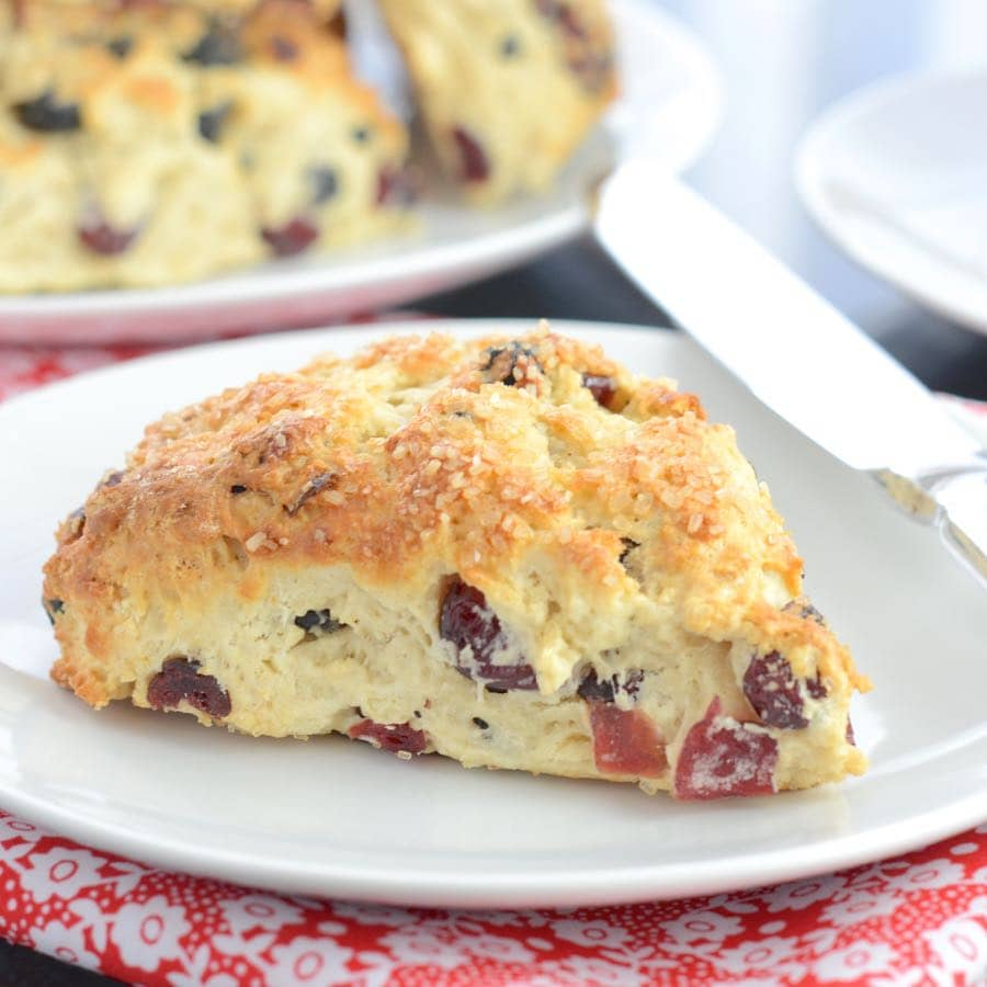 A twist on the traditional fruit scone recipe, jam packed full of dried cranberries, blueberries and cherries.