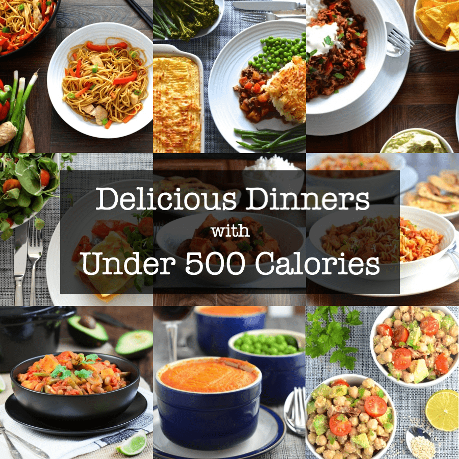 A selection of delicious, filling meals all with less than 500 calories a portion.