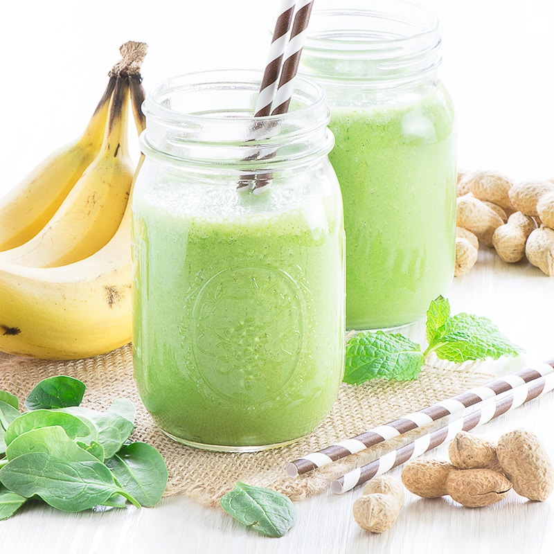 Have a healthy and delicious start to your day with this quick and easy banana, peanut butter & mint green smoothie.