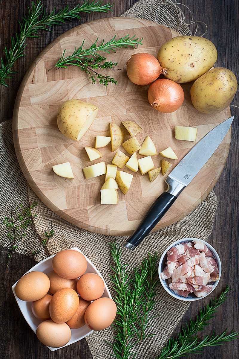 Brunch potatoes – Herby roasted potatoes with bacon and onions and topped with a fried egg. The perfect low effort brunch (or breakfast… or lunch… or dinner) and it's got fewer than 450 calories a serving too!