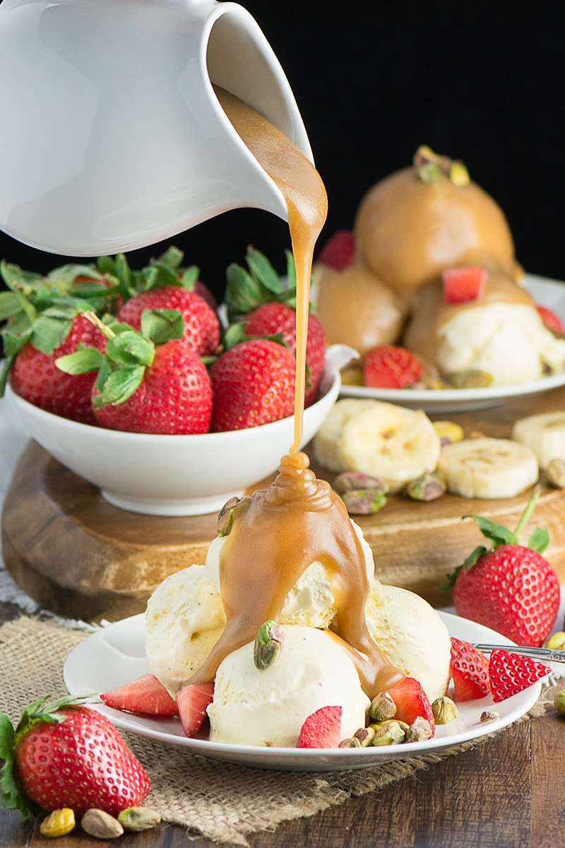 Really easy butterscotch sauce with just 3 ingredients. Perfect for pouring on ice-cream, desserts or just licking from the spoon!