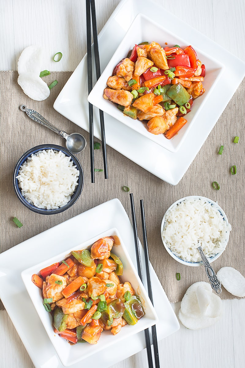 Homemade take-away style sweet and sour chicken. It's ready in under 20 minutes, so quicker than nipping out the the take-away and it's lower calories too.