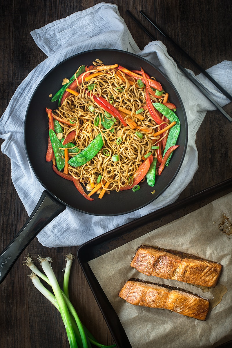 Soy and sesame marinated salmon served with a delicious vegetable chow mien. A quick and healthy midweek dinner.