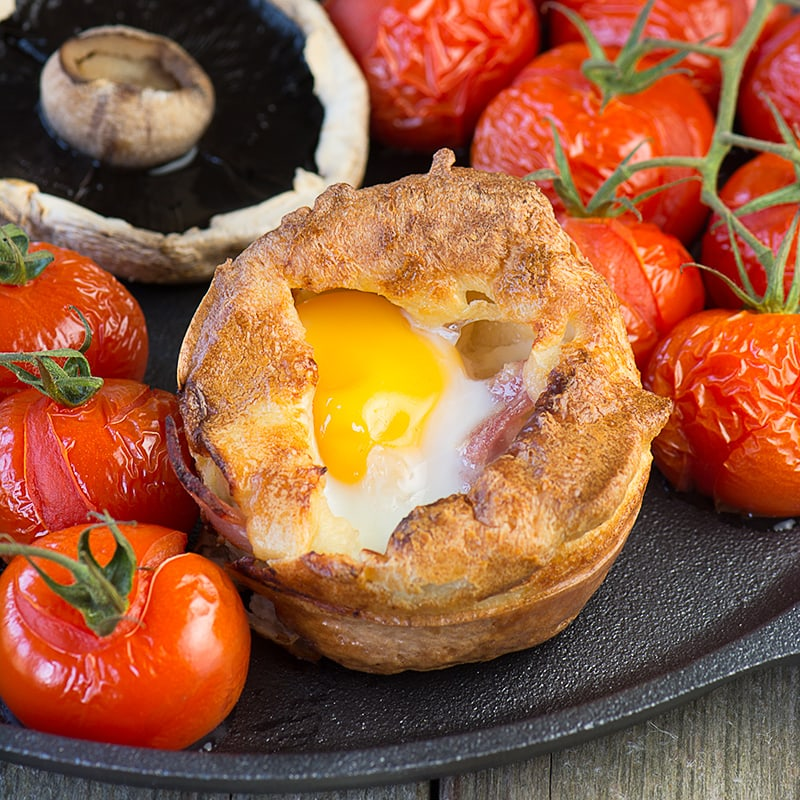 A twist on the traditional toad-in-the hole made with sausages, bacon and a perfectly cooked egg baked in the centre.