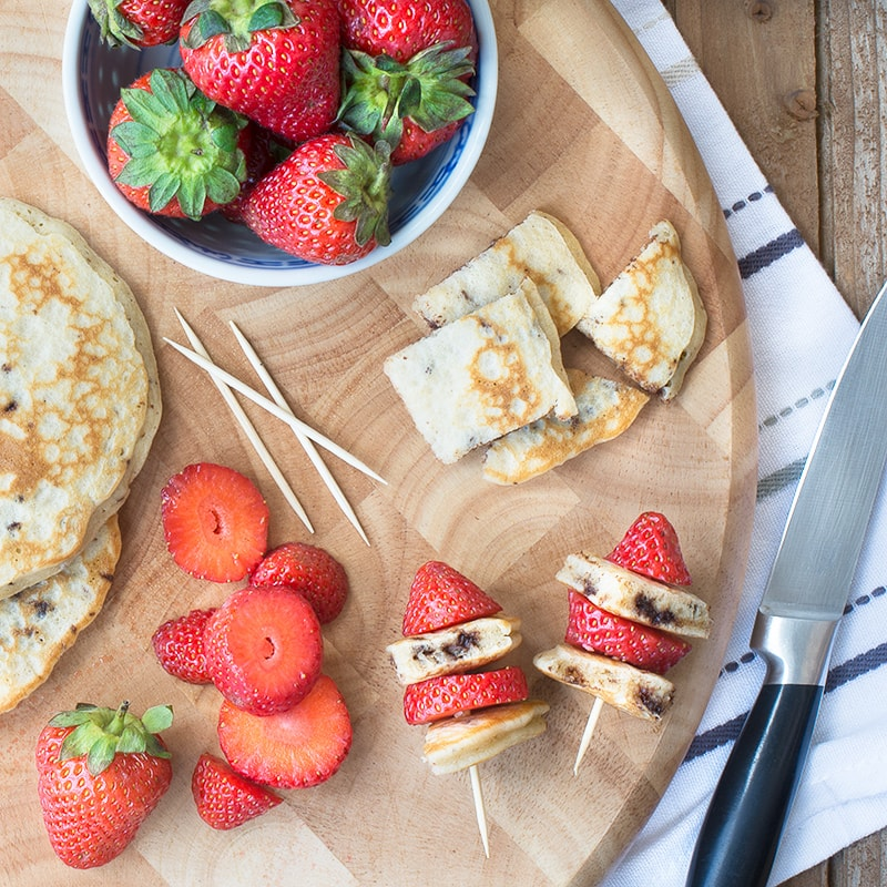 Chocolate chip pancake and strawberry sticks