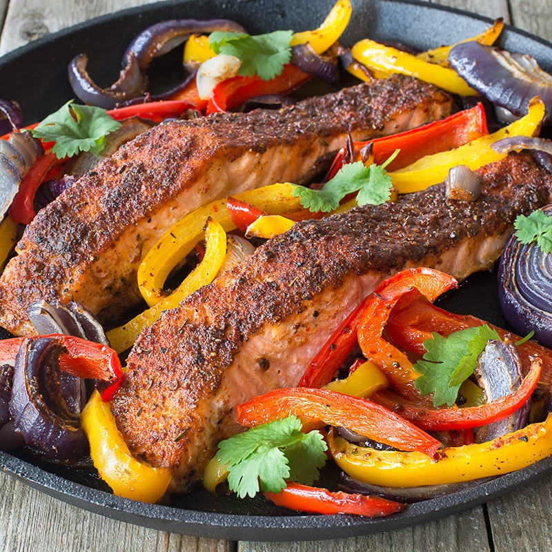 Salmon makes a great alternative to fish or beef in these Cajun salmon fajitas, for a delicious dinner with only a few minutes effort.