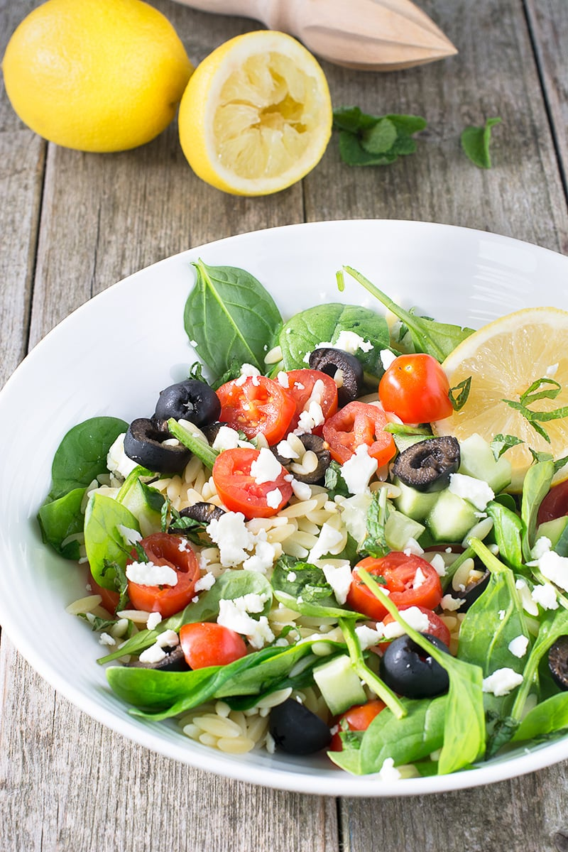 A quick and easy mediterranean pasta salad with a lemon and mint dressing.