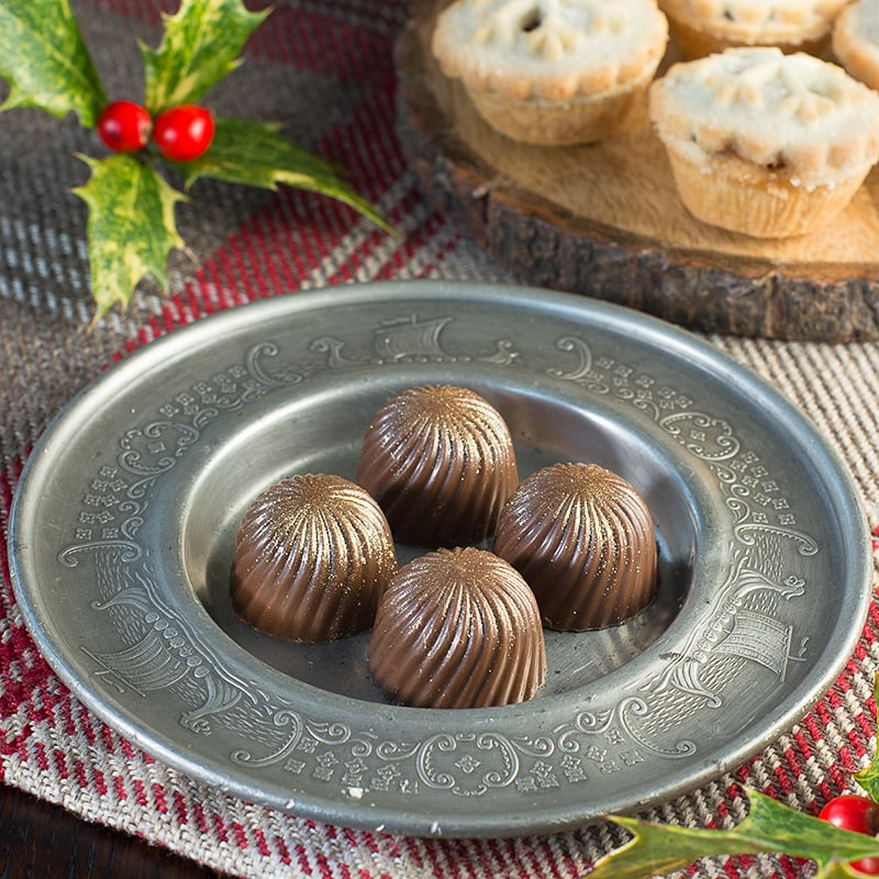Delicious festive chocolates with a milk chocolate, mincemeat and brandy truffle filling.