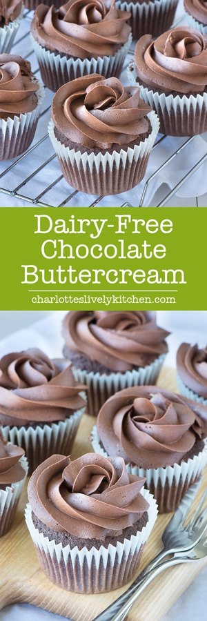 This dairy-free (and vegan) chocolate buttercream is so deliciously rich you'd never guess it doesn't contain any dairy. Perfect for topping my dairy-free chocolate cupcakes.