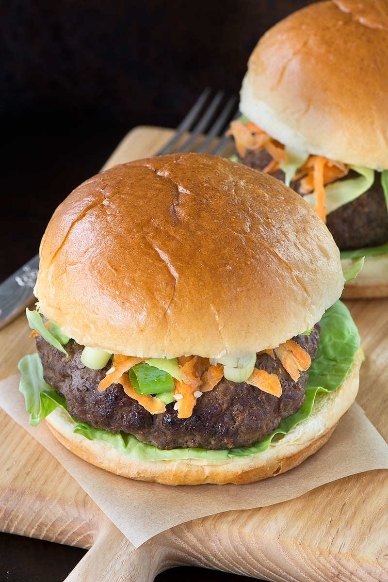 A delicious homemade beef burger flavoured with teriyaki sauce, served in a roll with a crunchy asian inspired salad. Perfect for a summer barbecue.