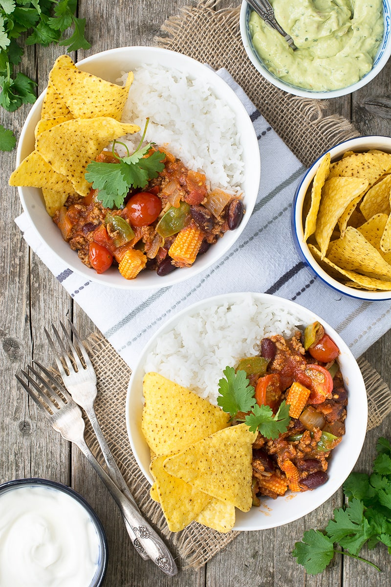 A delicious twist on the traditional chilli con carne, made with lamb mince and crunchy summer vegetables.