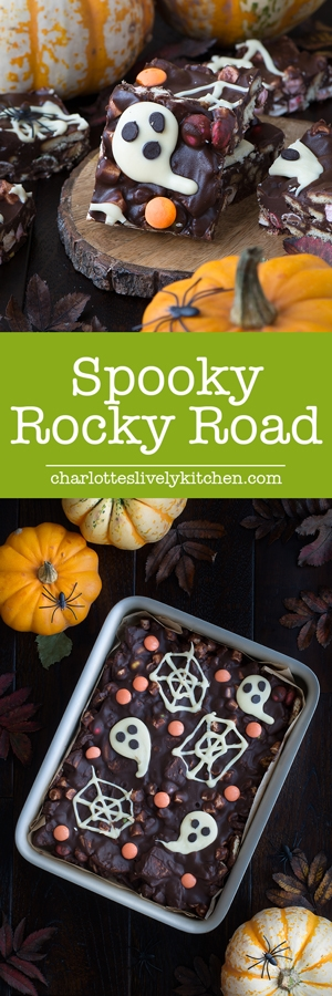 Spooky Rocky Road - a delicious and easy to make Halloween treat packed with crunchy biscuits, Smarties, marshmallows and lots of chocolate.