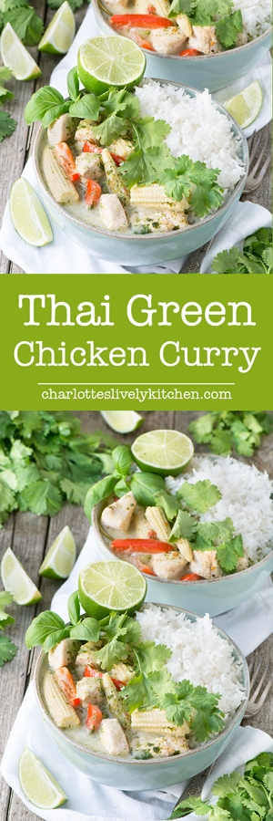My quick version of a classic Thai Green Chicken Curry. Succulent chicken andcrunchyvegetables in a fragrant coconut sauce. Absolutely delicious and ready in just 20 minutes.