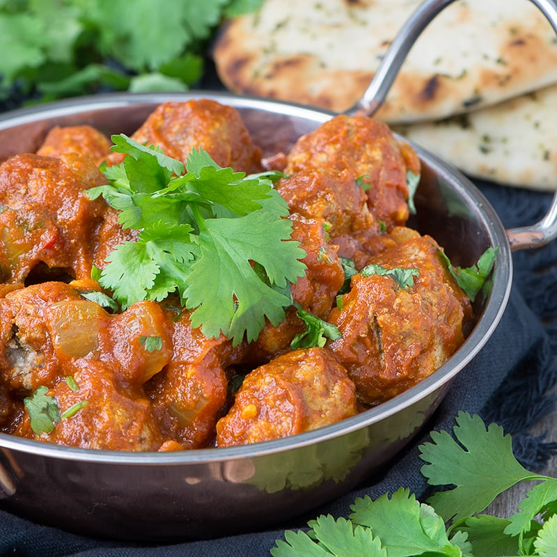 Delicious lamb meatballs in a spiced tomato sauce - perfect for a family meal or a curry tapas party.