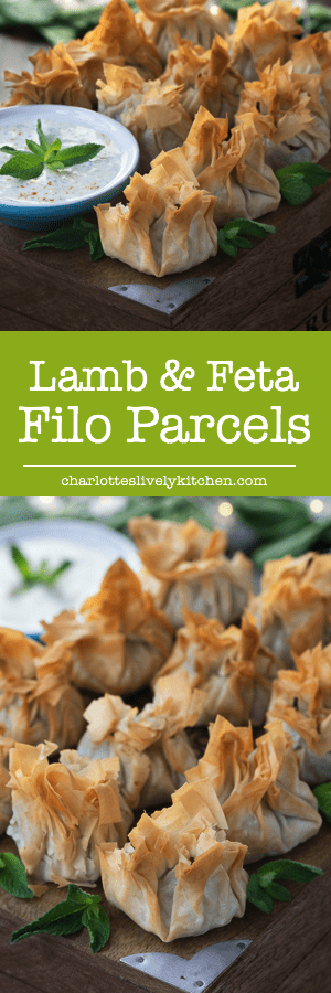 Crisp filo pastry parcels with a spiced lamb, feta and spinach filling served with a mint yogurt dip.