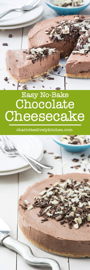 A delicious and easy to make no-bake chocolate cheesecake. A crunchy biscuit base topped with smooth, creamy and indulgent chocolate.