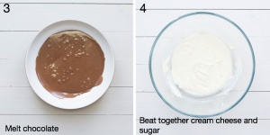 Melted chocolate in a bowl. Cream cheese that's been beaten together with caster sugar.