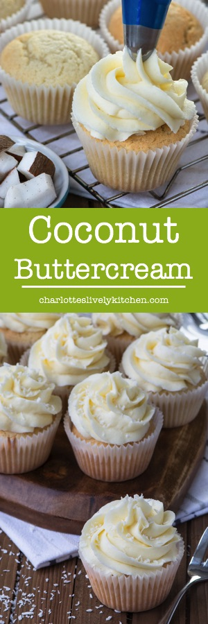 Easy to make, smooth coconut buttercream which is packed full of flavour. Perfect for decorating cupcakes, layer cakes and biscuits.