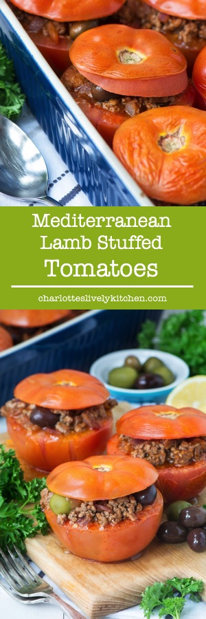 Tomatoes filled with delicious Mediterranean lamb flavoured with olives, lemon and herbs. The filling is also perfect as a lamb bolognese served with pasta and sprinkled with grated cheese.