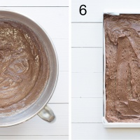 Chocolate brownies recipe steps 5 & 6. Flour and cocoa folded into the other ingredients. Mixture spread into the baking tray.