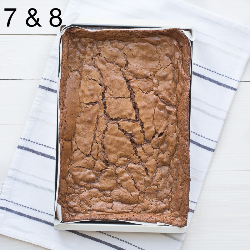 Chocolate brownies recipes steps 7 & 8. Brownies fresh from the oven with a shiny top and cracks.