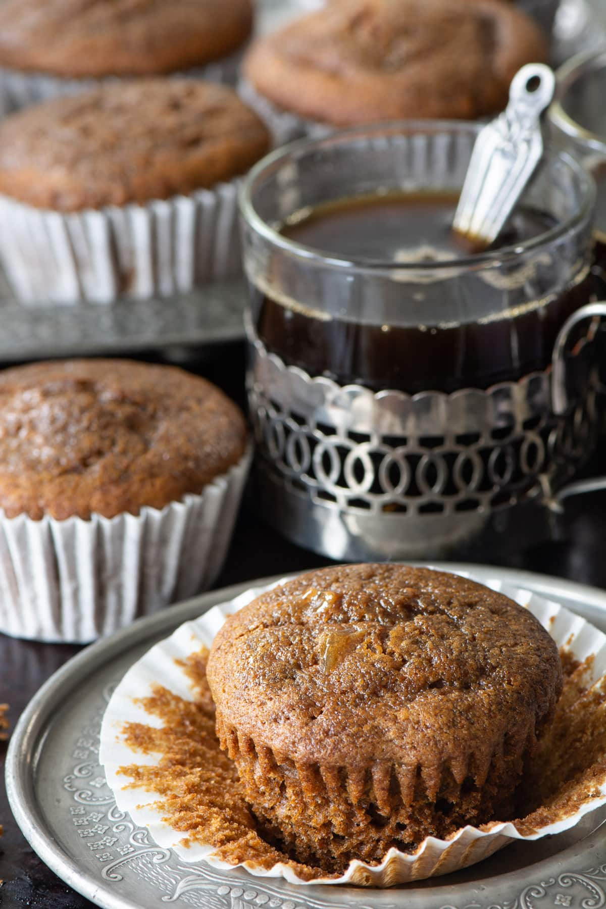 These delicious sticky gingerbread cupcakes are made with ground ginger, chopped stem ginger and brushed with ginger syrup so they're packed full of flavour and perfectly moist. The ideal treat for any gingerbread lovers.