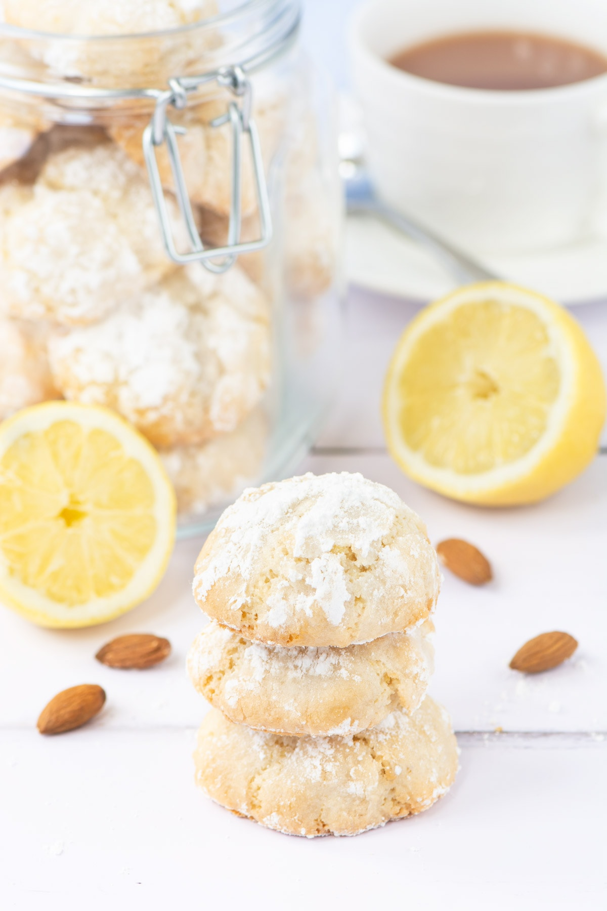 Delicious soft centred Lemon Amaretti Biscuits. So easy to make, crisp on the outside, chewy in the middle and packed with lemon flavour. They're naturally gluten-free too.