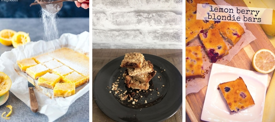 Lemon & Coconut Bars, Lemon Crumble Bites and Lemon & Berry Blondie Bars