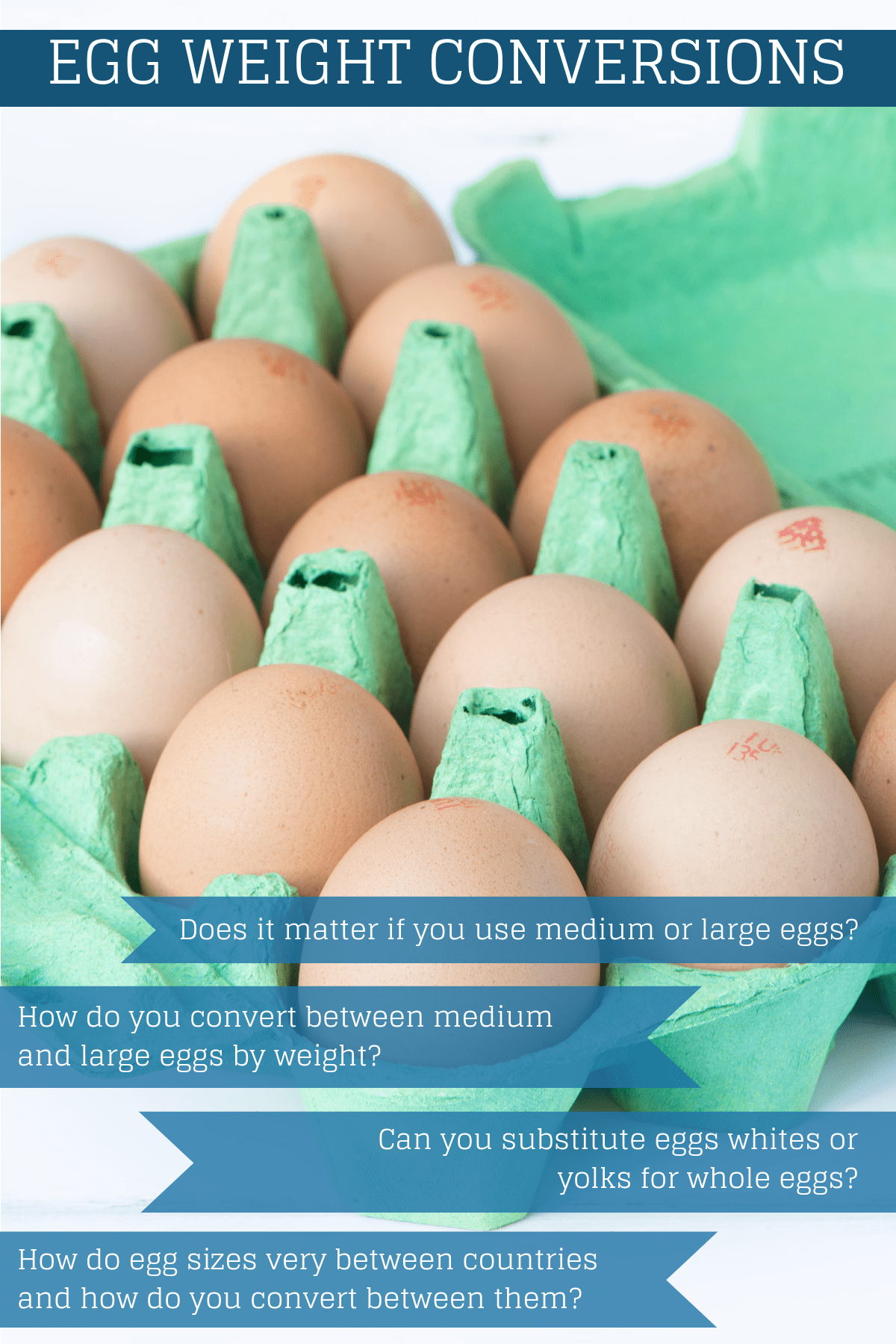 Can I substitute medium eggs for large (or vice versa)? How much do eggs weigh? How do I convert between medium and large eggs? and more egg-related baking quetions answered.