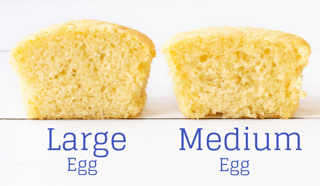 A comparison of cupcakes baked with medium or large eggs.