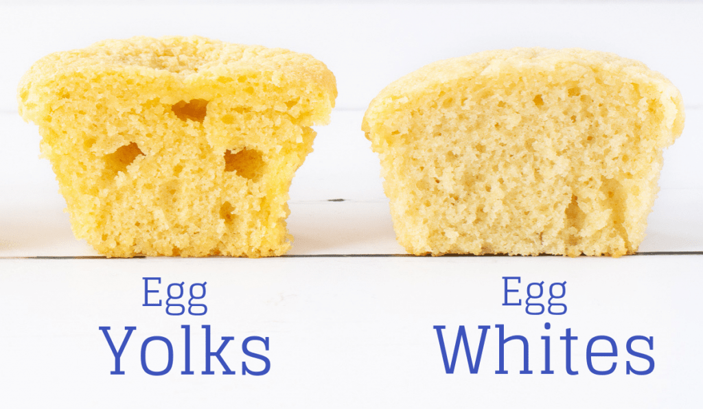 A comparison of cupcakes made with just egg yolks and just egg whites.