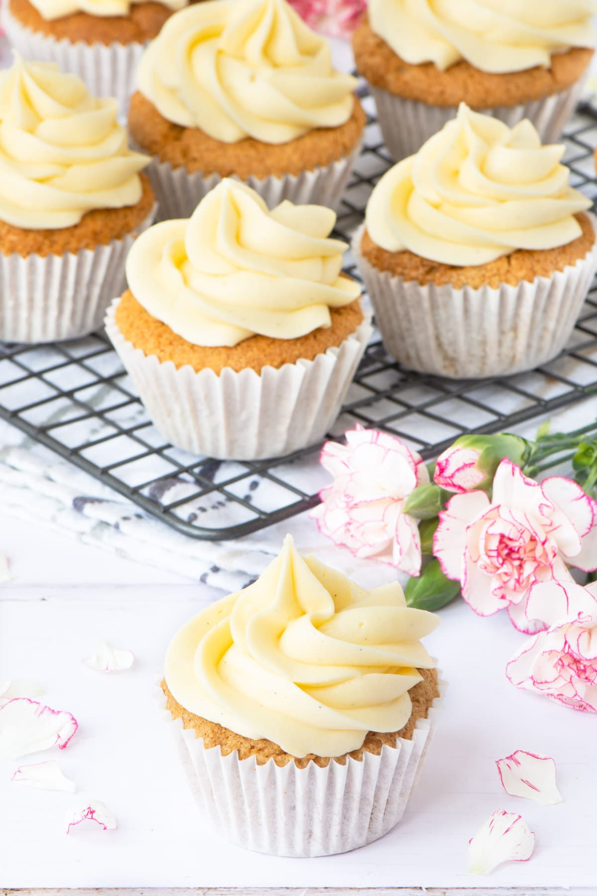 These vegan vanilla cupcakes are easy to make and taste delicious. No one would guess that they're egg and dairy-free.