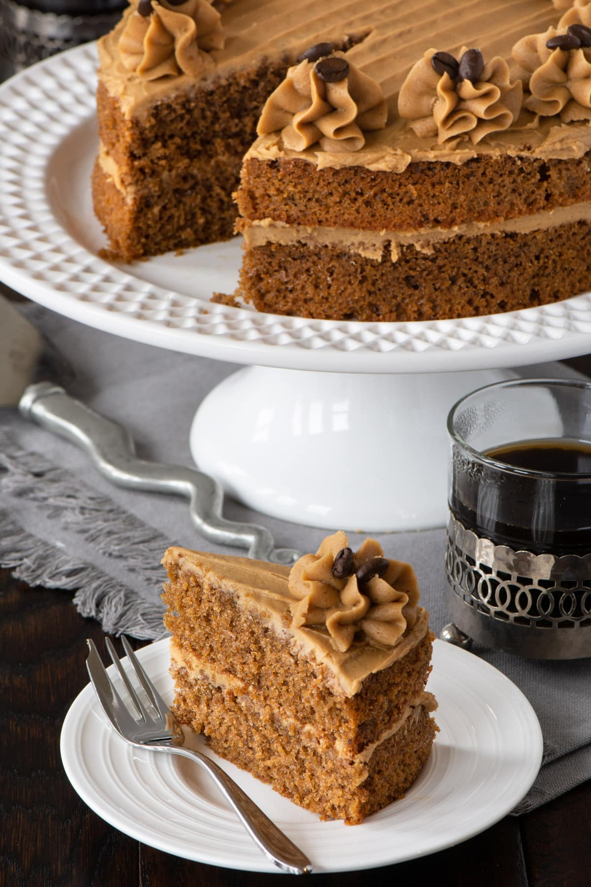 Easy Coffee Cake - A delicious all-in-one coffee sponge topped with smooth coffee buttercream. Simple to make and packed full of flavour. PLUS - Howto make this cake in any size of round, square or rectangular tin.