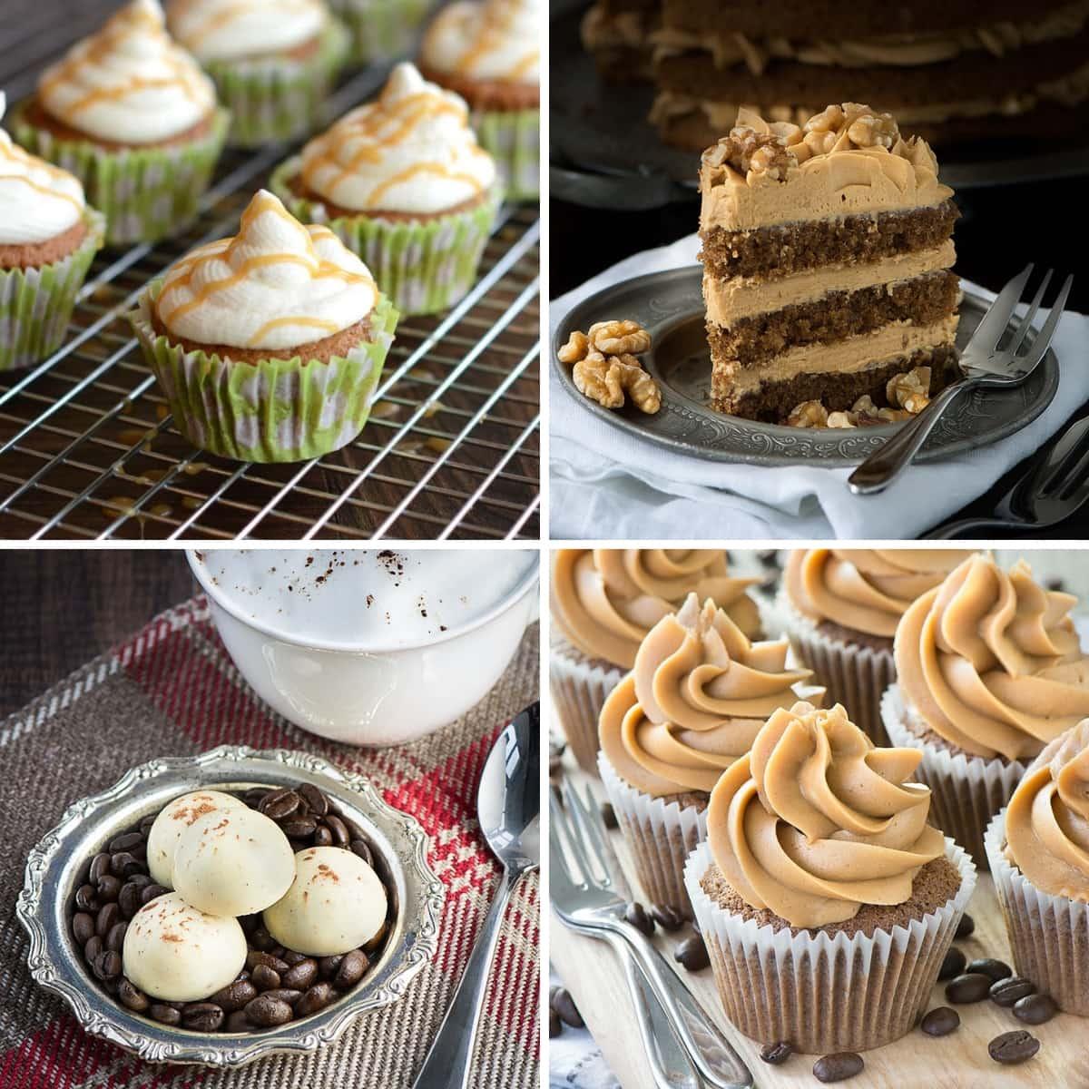 Caramel Macchiato Cupcakes, Coffee & Walnut Cake, Cappuccino Truffles & Coffee Cupcakes