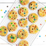M&Ms Cookies - A twist on my classic chocolate chip cookies with added colour and crunch from M&Ms (or Smarties).