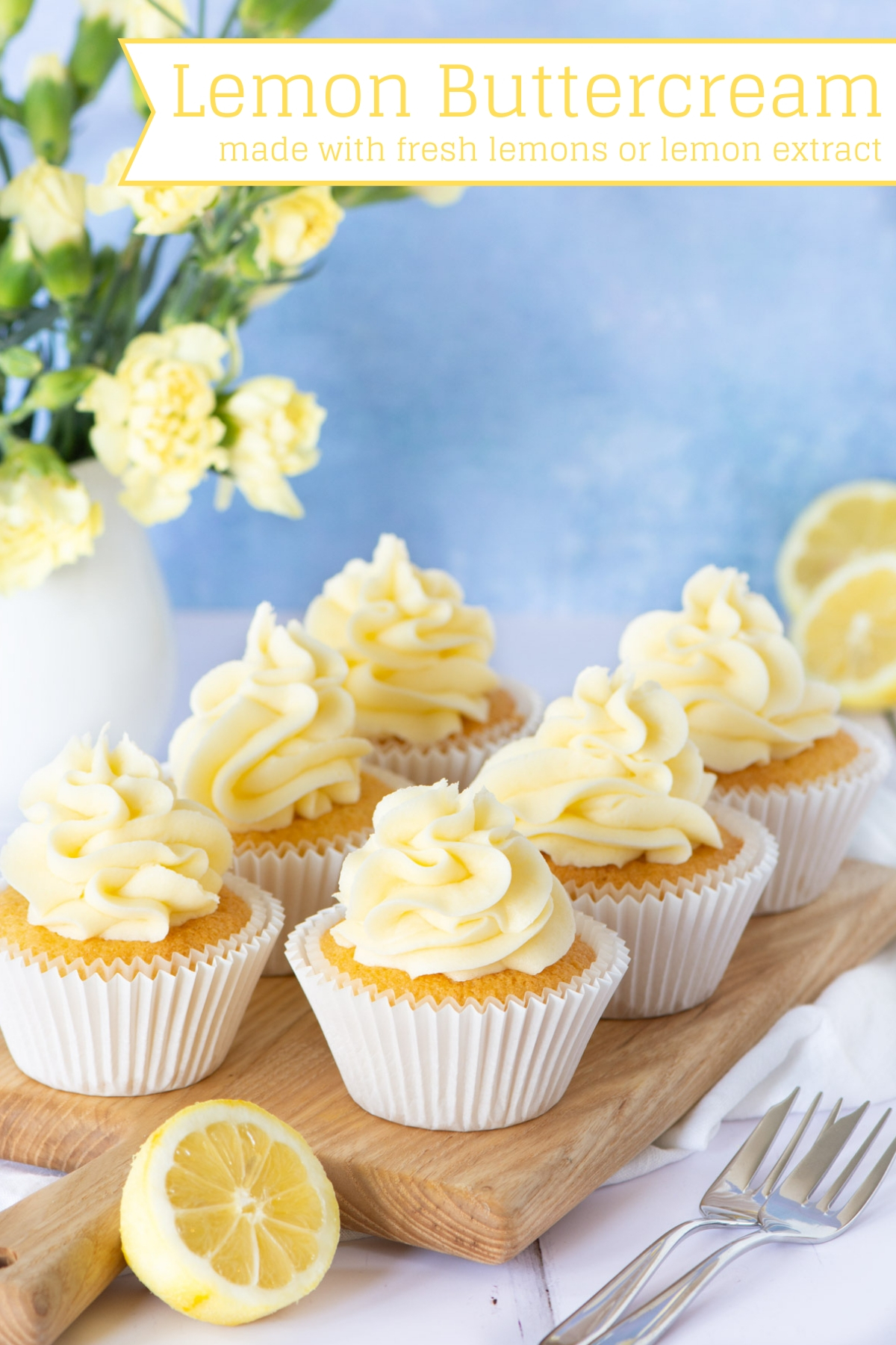 Two different versions of my delicious lemon buttercream - one made with fresh lemons (juice and zest) and another made with either lemon extract or oil. Perfect for decorating cakes and cupcakes or filling biscuits and macarons.