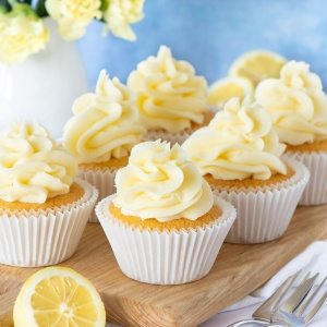 Lemon cupcakes topped with lemon buttercream.