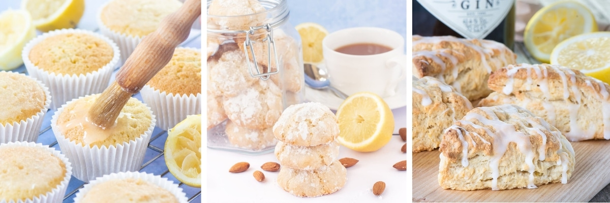 Lemon Drizzle Cupcakes, Lemon Amaretti Biscuits and Gin & Lemon Scones