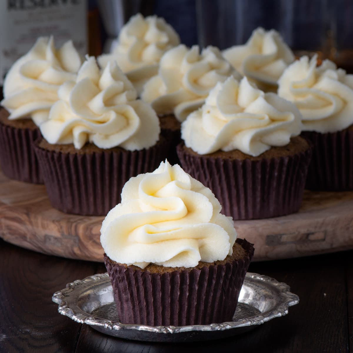 Coffee cupcakes topped with whiskey buttercream.