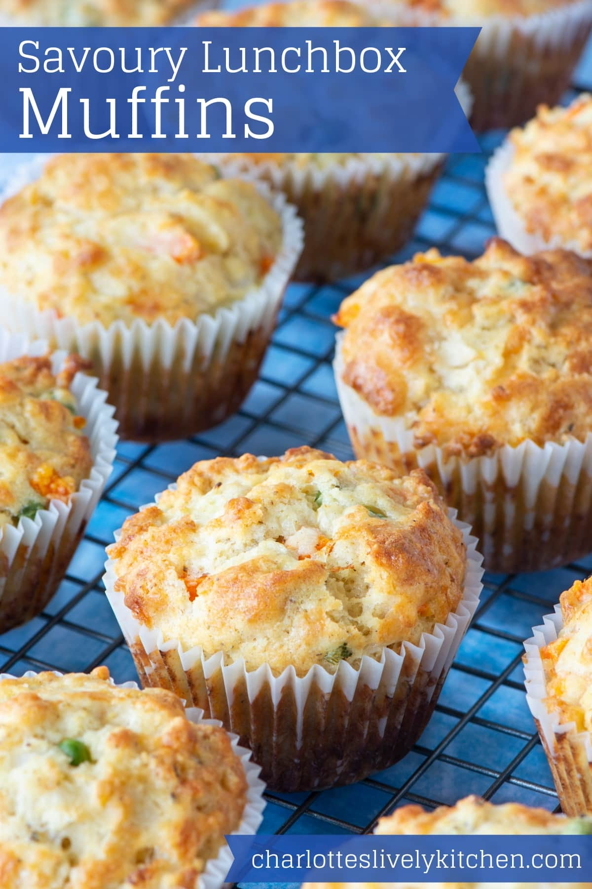 Savoury lunchbox muffins pinnable image.