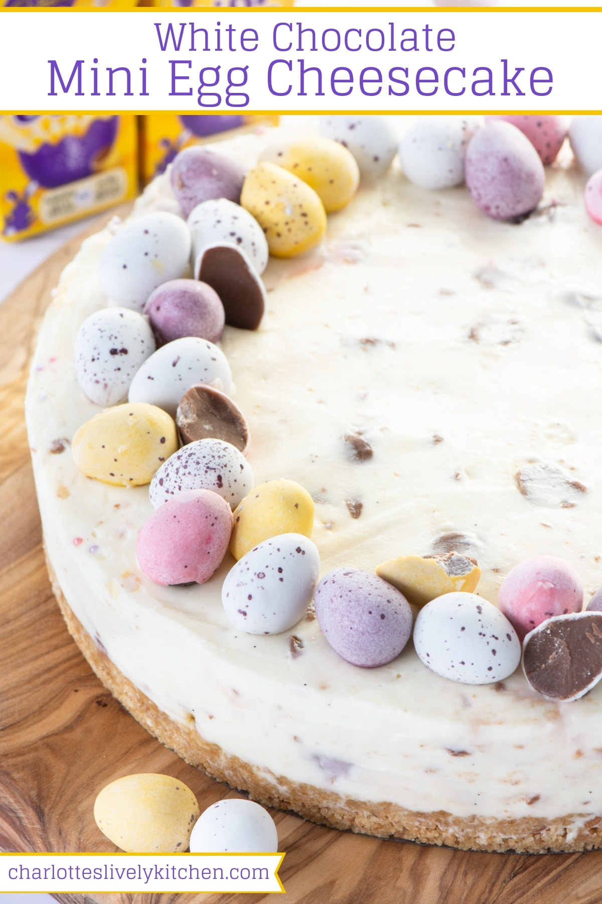 Mini Egg Cheesecake - A smooth white chocolate cheesecake with a cruchy biscuit base of lots of mini eggs running through it.