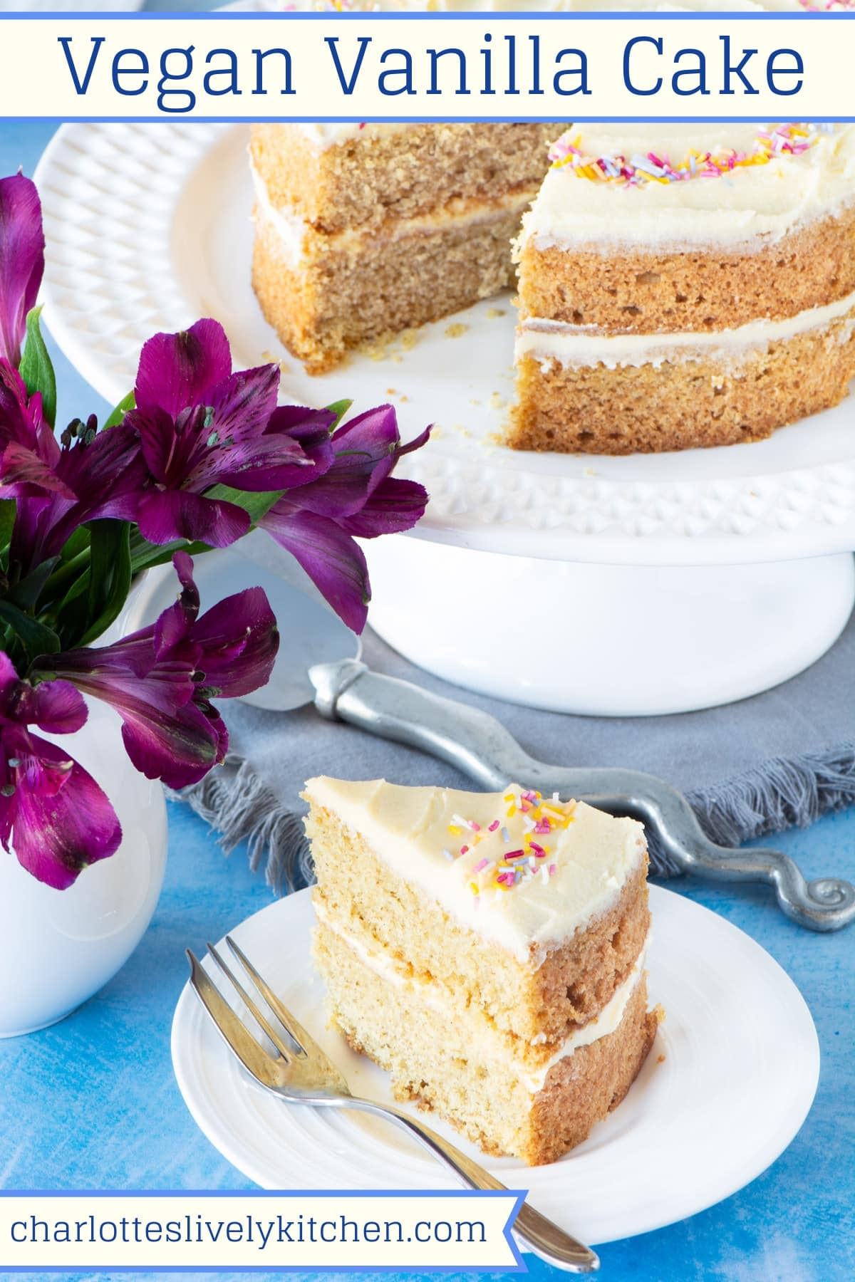 A slice of vegan sponge cake filled with vanilla buttercream, with the remaining cake in the background. The image has a title at the top, so it's perfect for saving to Pinterest.